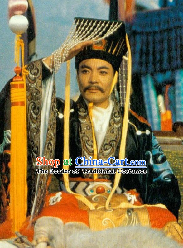 Chinese Ancient Xuanzong Emperor Tang Dynasty Imperator Li Longji Embroidered Replica Costume for Men