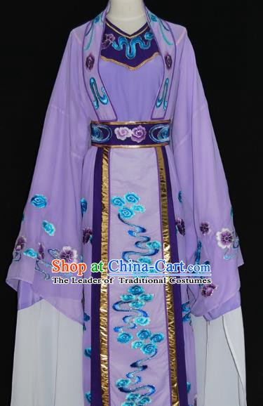 Traditional Chinese Beijing Opera Niche Costume Scholar Embroidery Purple Robe for Adults