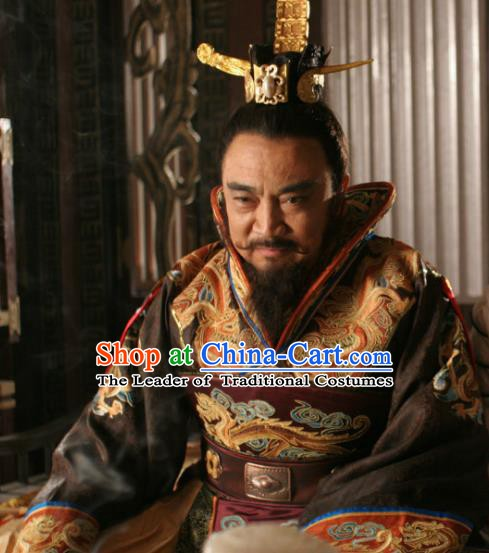 Chinese Ancient Emperor Yang of Sui Dynasty Yang Guang Embroidered Replica Costume for Men
