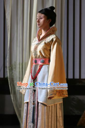 Chinese Sui Dynasty Royal Princess Yue Rong Hanfu Dress Replica Costume for Women