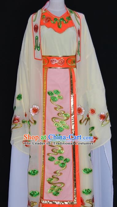 Traditional Chinese Beijing Opera Niche Costume Scholar Embroidery Beige Robe for Adults