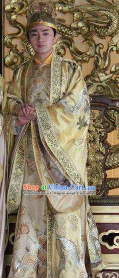 Chinese Ancient Gaozong Emperor of Tang Dynasty Li Zhi Embroidered Replica Costume for Men