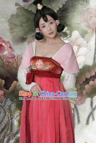 Ancient Chinese Tang Dynasty Palace Lady Wu Meiniang Hanfu Dress Replica Costume for Women