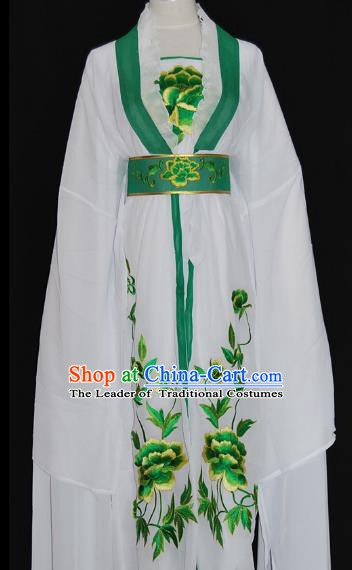 Traditional Chinese Beijing Opera Diva Green Dress Peking Opera Nobility Lady Embroidered Costume