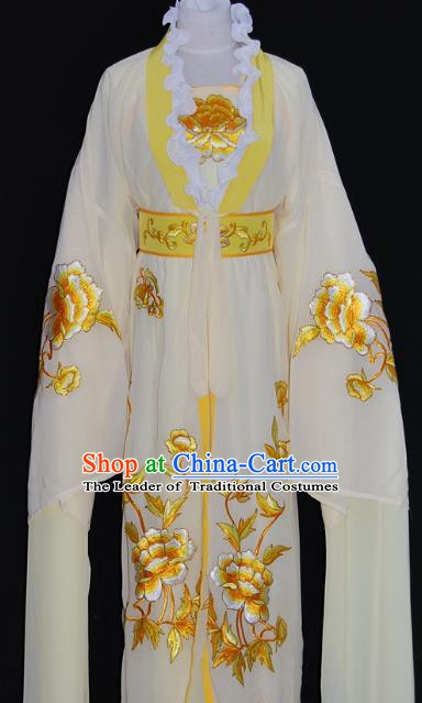 Traditional Chinese Beijing Opera Diva Beige Dress Peking Opera Princess Embroidered Costume