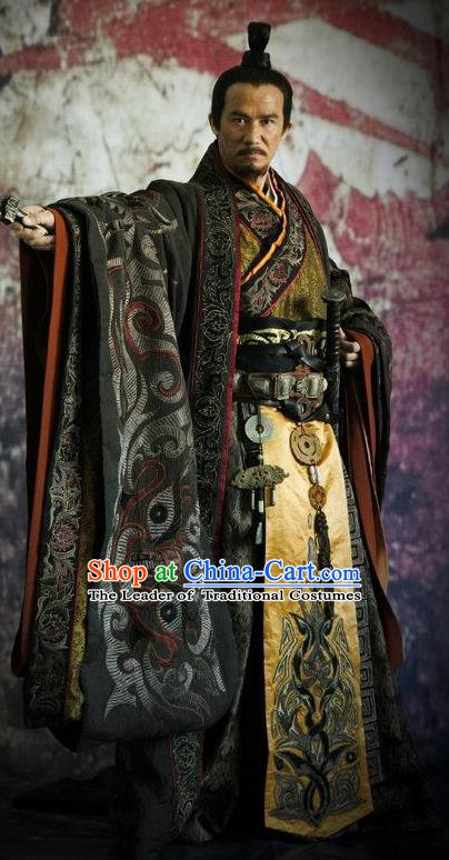 Chinese Ancient Warring States Time Theatre Emperor Embroidered Costume for Men