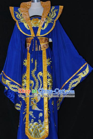 Traditional Chinese Beijing Opera Imperial Empress Royalblue Dress Peking Opera Diva Embroidered Costume