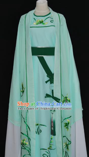 Traditional Chinese Beijing Opera Orchid Green Costume Peking Opera Niche Clothing for Adults