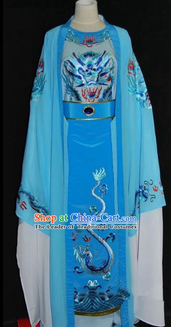 Traditional Chinese Beijing Opera Prince Blue Robe Costume Peking Opera Young Men Clothing for Adults
