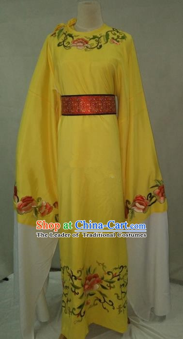 Traditional Chinese Beijing Opera Niche Water Sleeve Yellow Robe Peking Opera Young Men Costume for Adults
