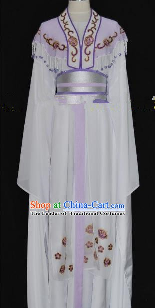 Traditional Chinese Beijing Opera Princess Purple Dress Peking Opera Diva Embroidered Costume