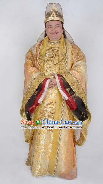 Chinese Ancient Emperor Suzong of Tang Dynasty Li Heng Embroidered Imperial Robe Replica Costume for Men