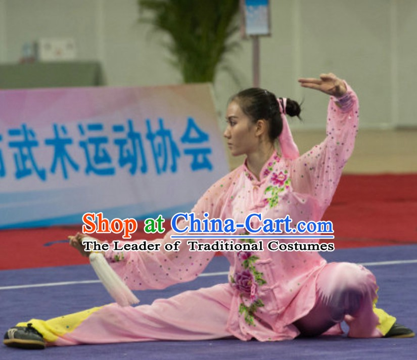 Long Sleeves Top Taiji Kung Fu Uniforms  Tai Chi Uniforms Martial Arts Blouse Pants Kung Fu Suits Kungfu Outfit Professional Kung Fu Clothing Complete Set for Girls Kids Teenagers