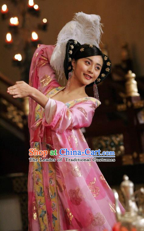 Ancient Chinese Tang Dynasty Imperial Concubine Yang Embroidered Hanfu Dress Replica Costume for Women