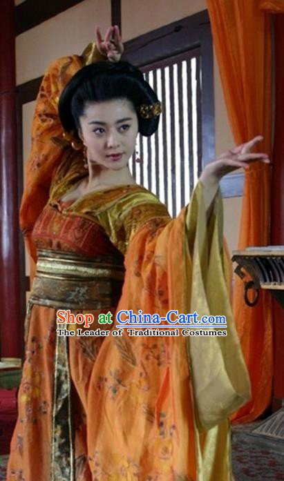 Ancient Chinese Tang Dynasty Consort Yang Embroidered Replica Costume for Women