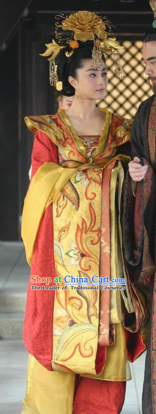 Ancient Chinese Tang Dynasty Consort Yang Yuhuan Embroidered Replica Costume and Headpiece Complete Set for Women