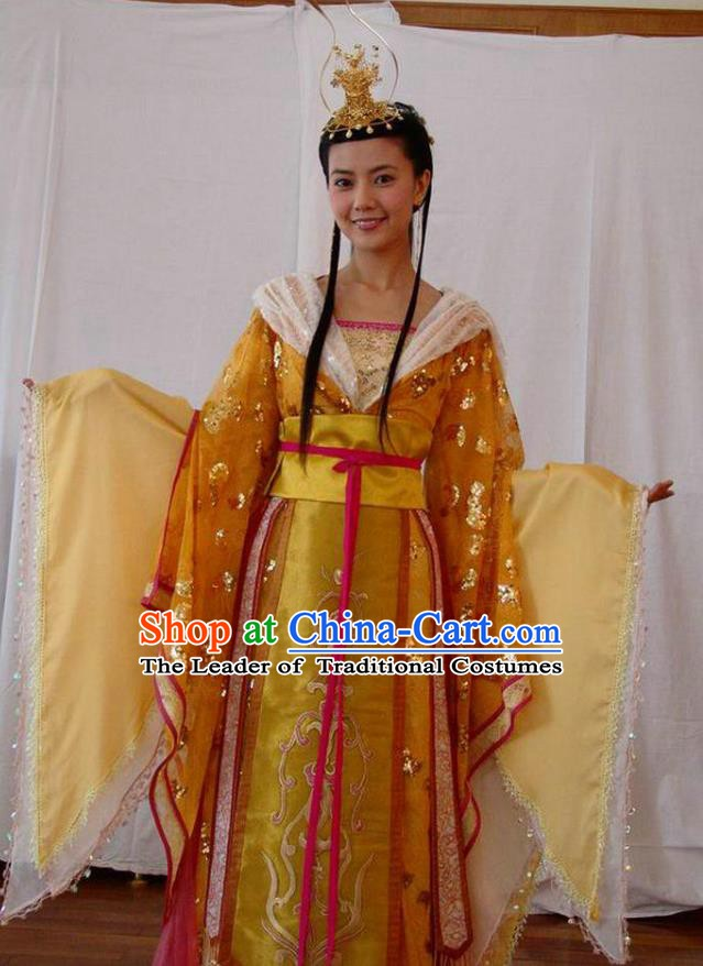 Ancient Chinese Tang Dynasty Crown Princess of Li Jiancheng Hanfu Dress Palace Lady Replica Costume for Women