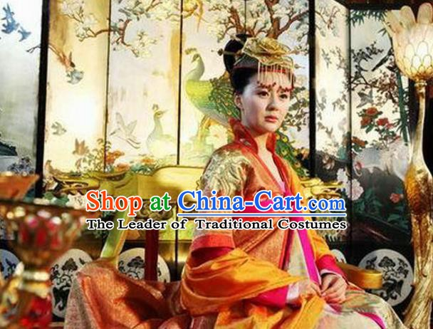 Chinese Tang Dynasty Historical Costume Ancient Empress Wang of Li Zhi Replica Costume for Women