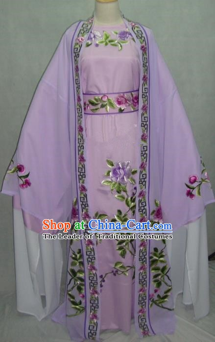 Traditional Chinese Beijing Opera Young Men Purple Robe Peking Opera Niche Costume for Adults