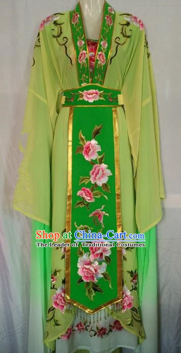 Traditional Chinese Beijing Opera Diva Embroidered Costume Peking Opera Young Lady Green Dress