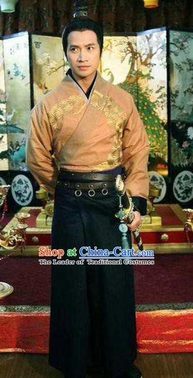 Traditional Chinese Ancient Tang Dynasty General Pei Shaoqing Replica Costume for Men