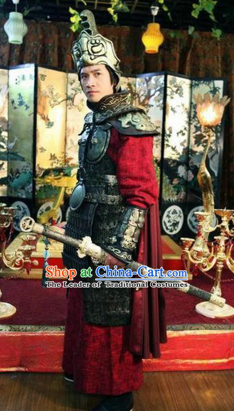 Traditional Chinese Ancient Tang Dynasty General Pei Shaoqing Replica Costume Helmet and Armour for Men