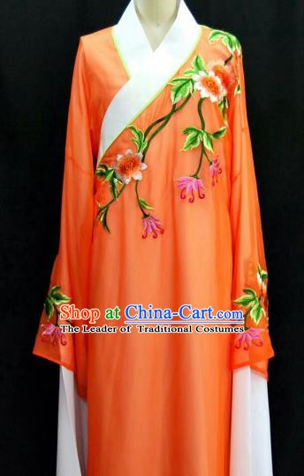 Traditional Chinese Beijing Opera Embroidered Water Sleeve Robe Peking Opera Niche Orange Costume for Adults