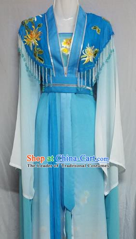 Top Grade Chinese Beijing Opera Actress Blue Dress China Peking Opera Nobility Lady Costume
