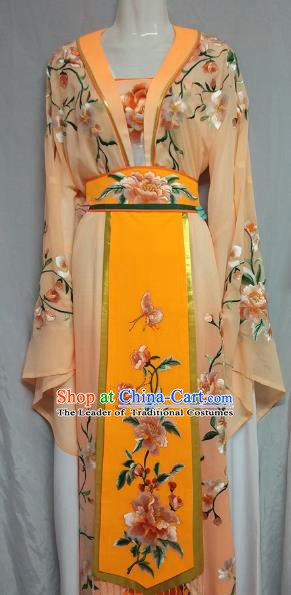 Top Grade Chinese Beijing Opera Actress Princess Embroidered Orange Dress China Peking Opera Diva Costume
