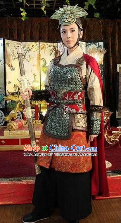 Chinese Ancient Tang Dynasty Female General Historical Costume Helmet and Armour for Women