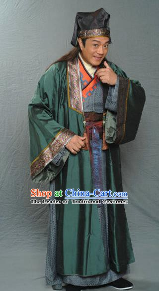 Traditional Chinese Ancient Song Dynasty Country Gentleman Replica Costume for Men