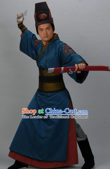 Chinese Ancient Tang Dynasty Imperial Bodyguard Swordsman Song Tingyu Replica Costume for Men