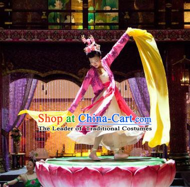 Chinese Ancient Tang Dynasty Palace Dance Dress Courtesan Historical Costume for Women