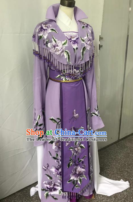 Top Grade Chinese Beijing Opera Actress Purple Dress China Peking Opera Diva Embroidered Costume