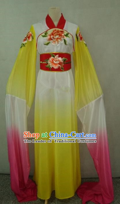 Top Grade Chinese Beijing Opera Actress Water Sleeve Yellow Dress China Peking Opera Diva Embroidered Costume