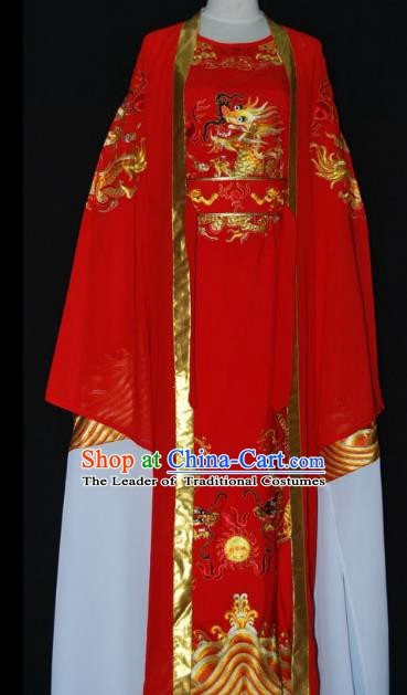 Chinese Beijing Opera Prince Red Costume Peking Opera Niche Embroidery Robe for Adults