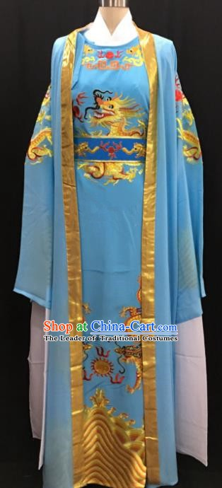 Chinese Beijing Opera Prince Blue Costume Peking Opera Niche Embroidery Robe for Adults