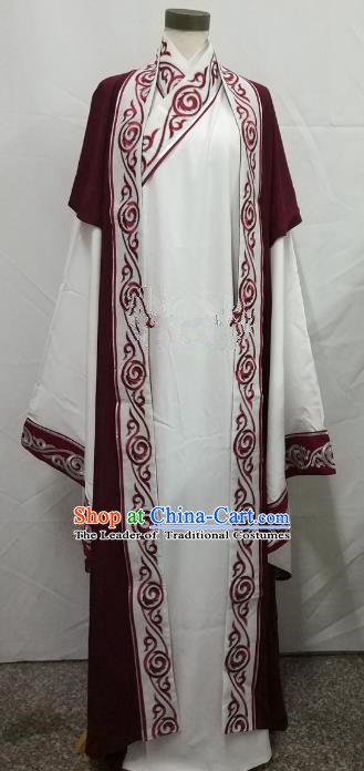 Chinese Beijing Opera Scholar Costume Peking Opera Niche Embroidery White Robe for Adults