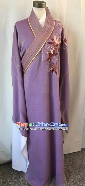 Chinese Beijing Opera Scholar Costume Peking Opera Niche Purple Embroidery Robe for Adults