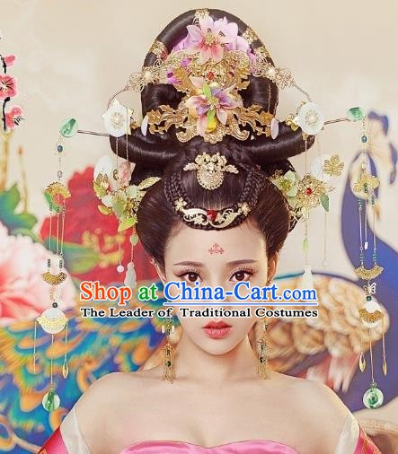 Chinese Ancient Imperial Consort Hair Accessories Phoenix Coronet Hairpins Complete Set for Women