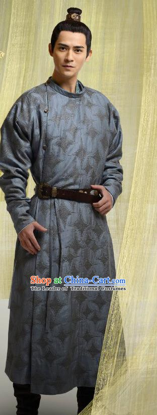 Chinese Ancient Tang Dynasty Wenzong Emperor Li Han Embroidered Replica Costume for Men