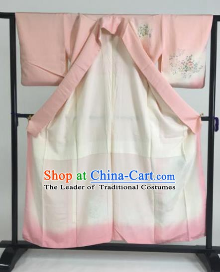 Japan Traditional Kimonos Printing Pink Furisode Kimono Ancient Yukata Dress Formal Costume for Women