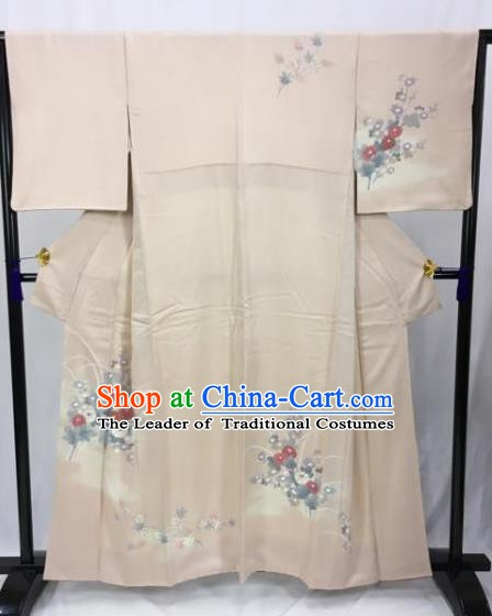 Japan Traditional Kimonos Khaki Furisode Kimono Ancient Yukata Dress Formal Costume for Women