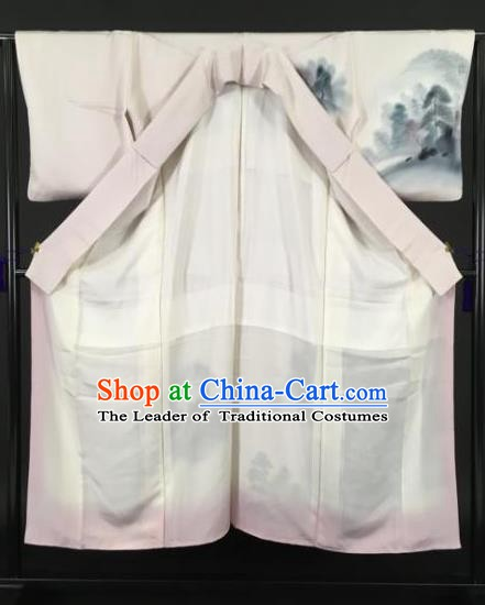 Japan Traditional Kimonos Ink Painting Pink Furisode Kimono Ancient Yukata Dress Formal Costume for Women