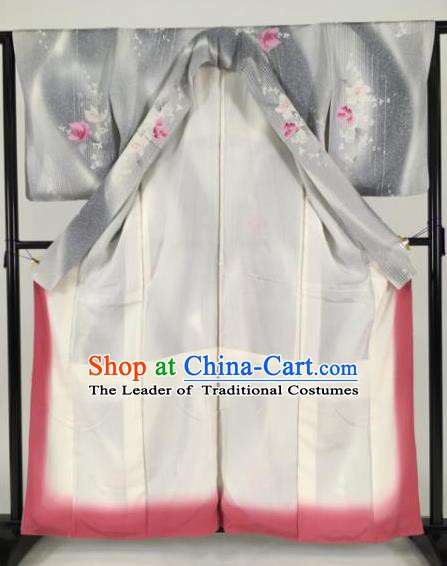Japan Traditional Grey Silk Kimono Furisode Kimono Ancient Yukata Dress Formal Costume for Women