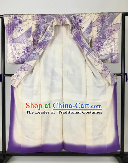 Japan Traditional Kimonos Purple Furisode Kimono Ancient Yukata Dress Formal Costume for Women