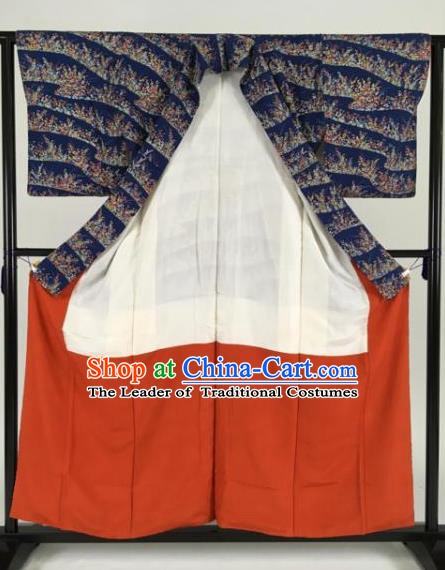 Japan Traditional Kimonos Geisha Deep Blue Furisode Kimono Ancient Yukata Dress Formal Costume for Women