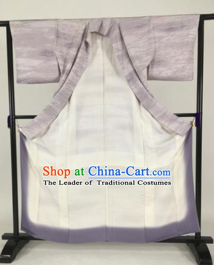 Japanese Samurai Palace Lilac Kimonos Traditional Wafuku Hakama Yukata Robe Costume for Men