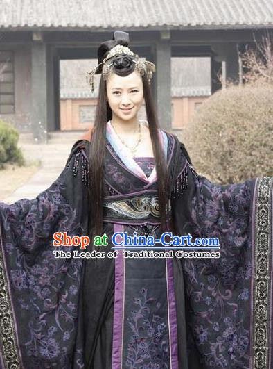 Chinese Ancient Warring States Period Imperial Concubine Hanfu Embroidered Costume and Headpiece Complete Set