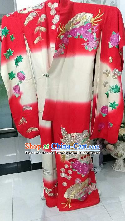 Ancient Japanese Geisha Red Furisode Kimonos Traditional Wedding Yukata Dress Formal Costume for Women